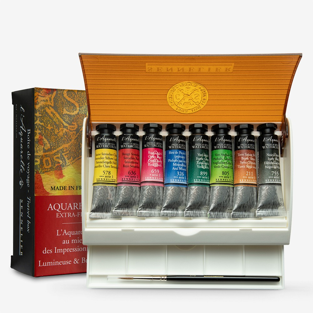 Sennelier : Watercolour : Travel Box Set of 8x10ml Tubes & Brush