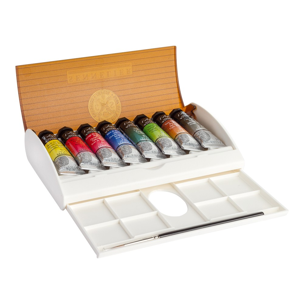 Sennelier : Watercolour : Travel Box Set of 8x10ml Tubes & Brush
