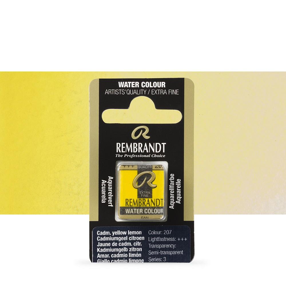 Talens : Rembrandt Watercolour Paint : Half Pan Cadmium Yellow Lemon