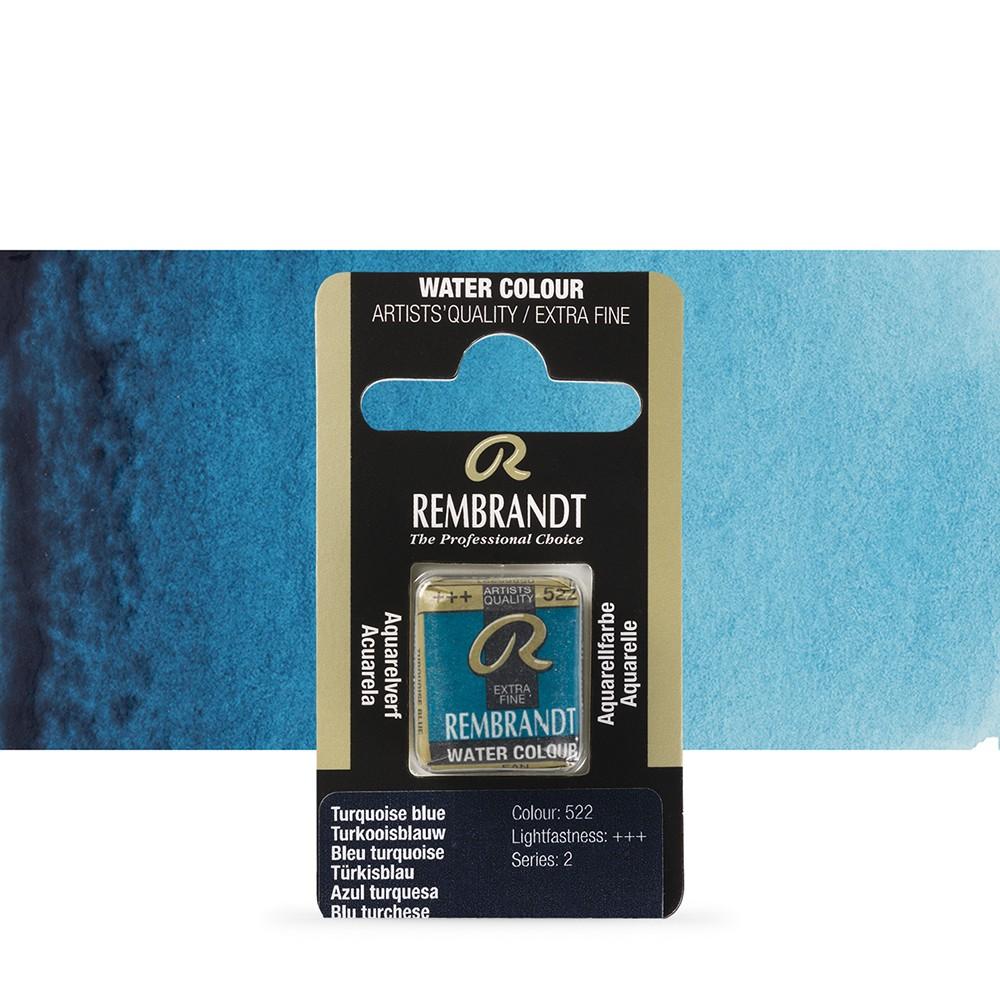 Talens : Rembrandt Watercolour Paint : Half Pan Turquoise Blue