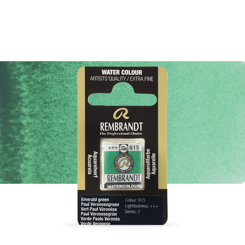Talens : Rembrandt Watercolour Paint : Half Pan Emerald Green