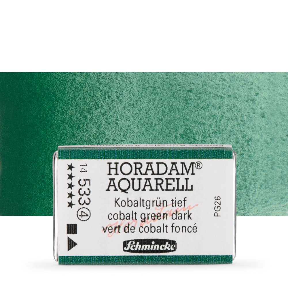 Schmincke : Horadam Watercolour Paint : Full Pan : Cobalt Green Dark
