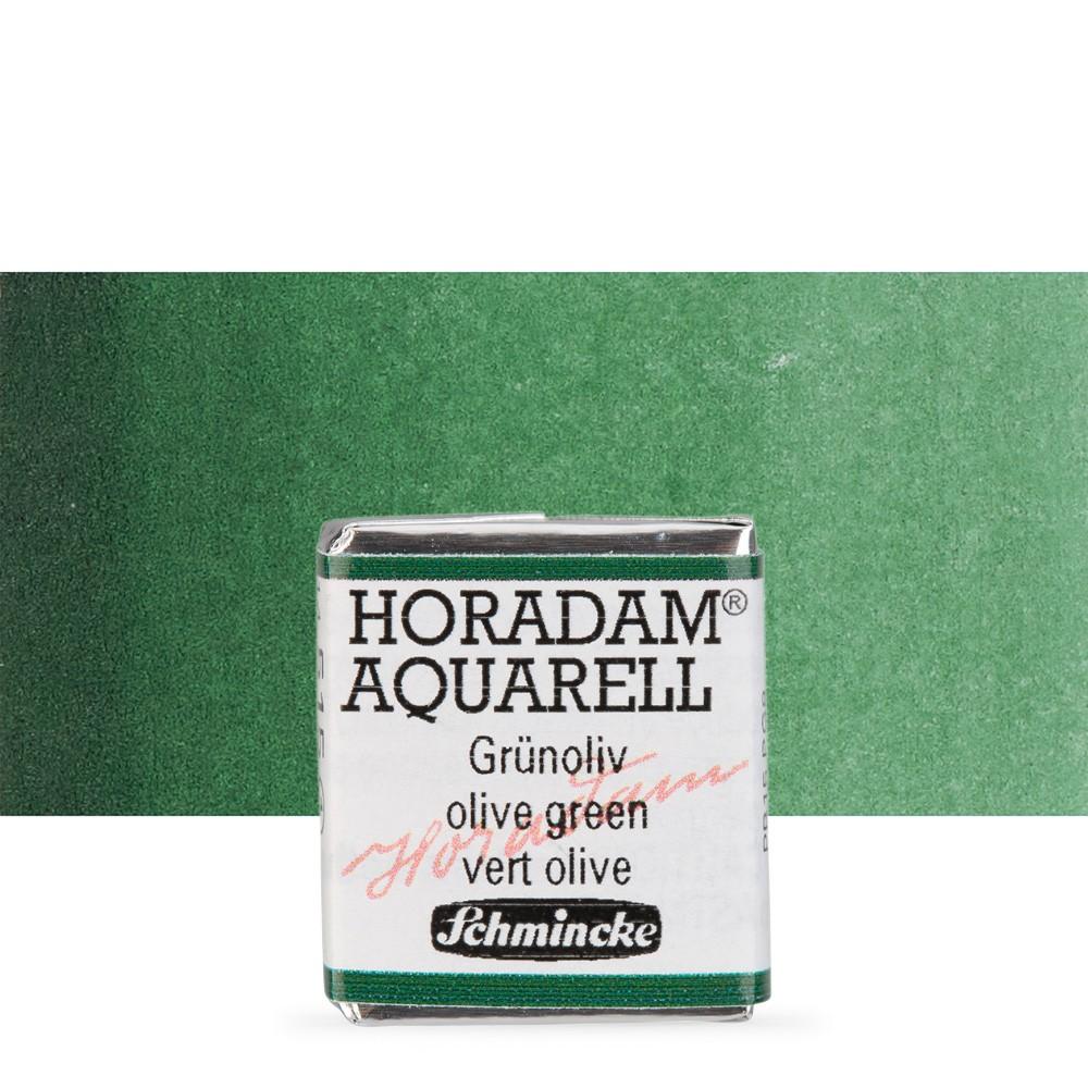 Schmincke : Horadam Watercolour Paint : Half Pan : Olive Green