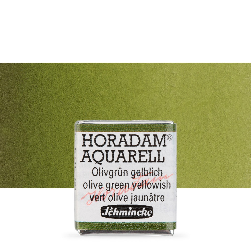 Schmincke : Horadam Watercolour Paint : Half Pan : Olive Green Yellow