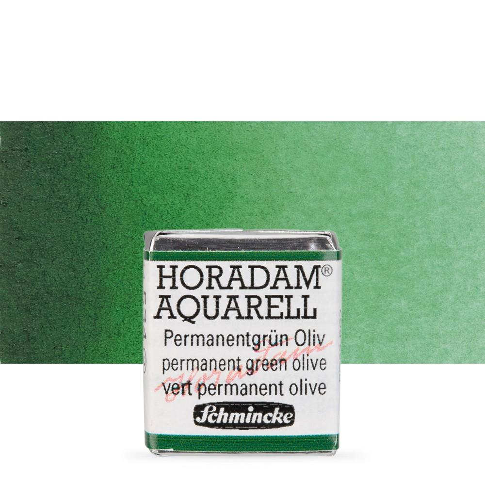 Schmincke : Horadam Watercolour Paint : Half Pan : Permanent Green Olive