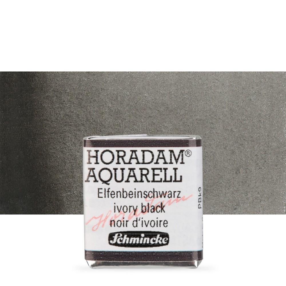 Schmincke : Horadam Watercolour Paint : Half Pan : Ivory Black