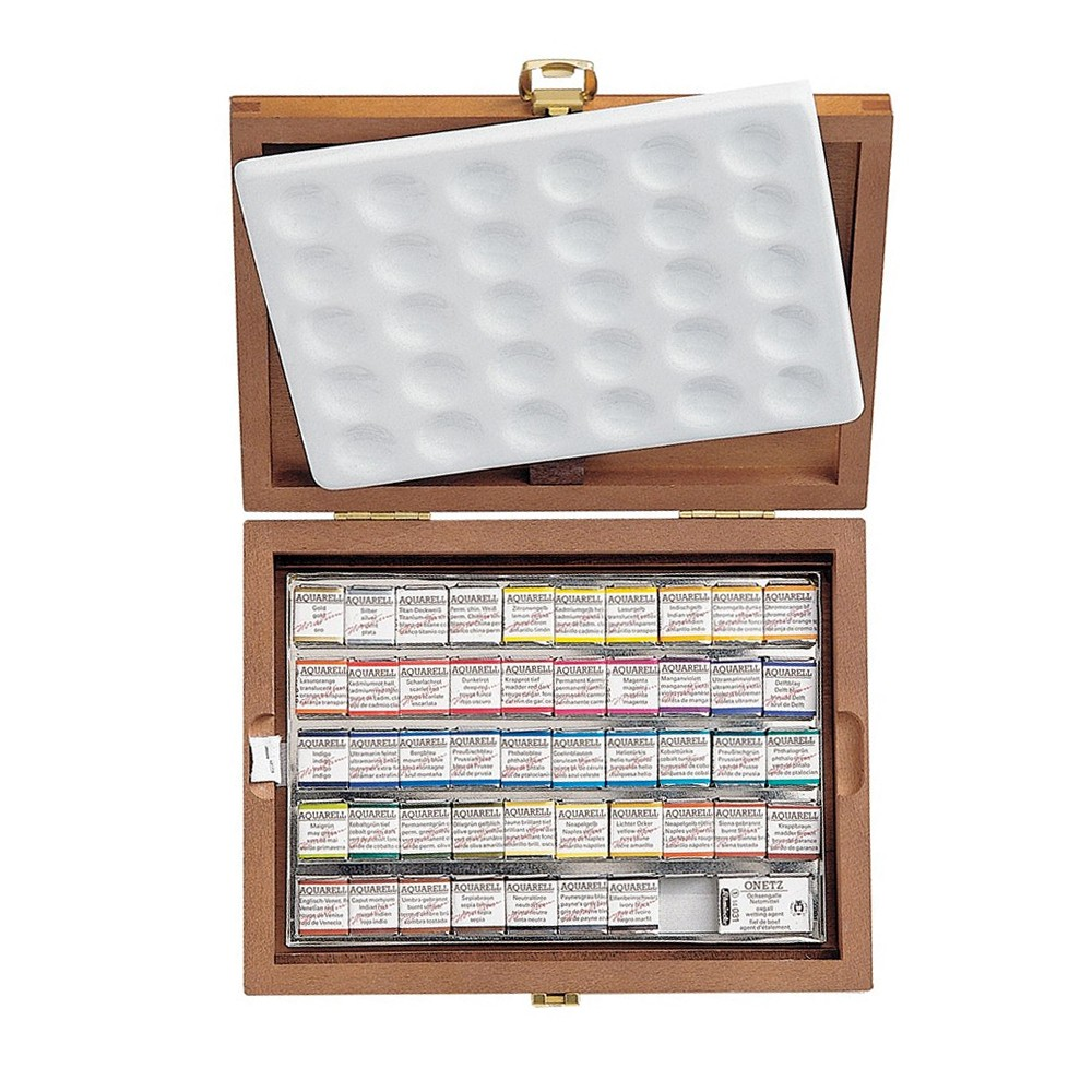 Schmincke : Horadam Watercolour : Wooden Box Set : 48 Half Pans