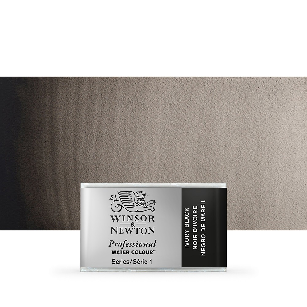Winsor & Newton : Professional Watercolour Paint : Full Pan : Ivory Black