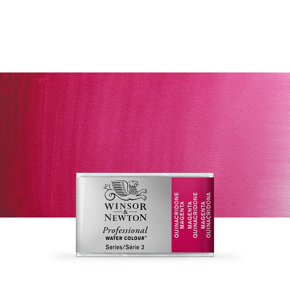 Winsor & Newton : Professional Watercolour Paint : Full Pan : Quinacridone Magenta