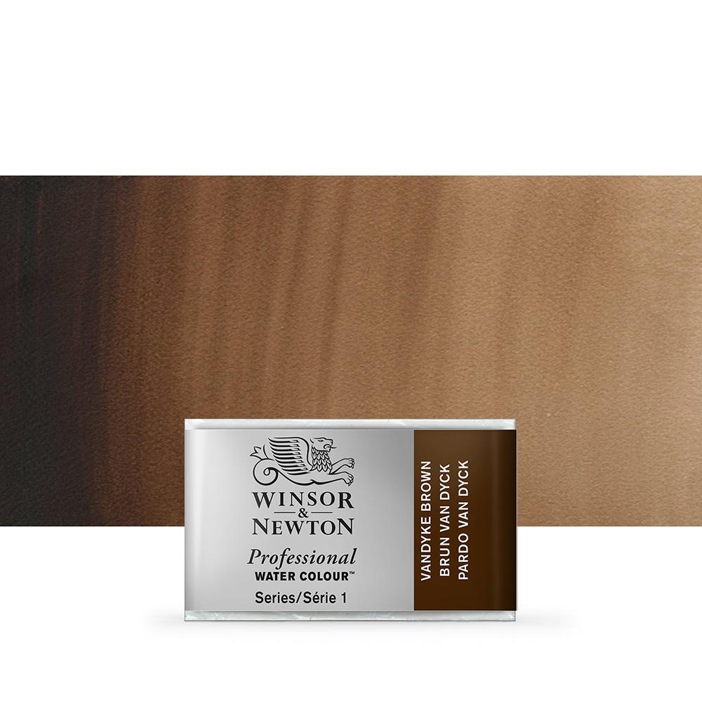 Winsor & Newton : Professional Watercolour Paint : Full Pan : Van Dyke Brown