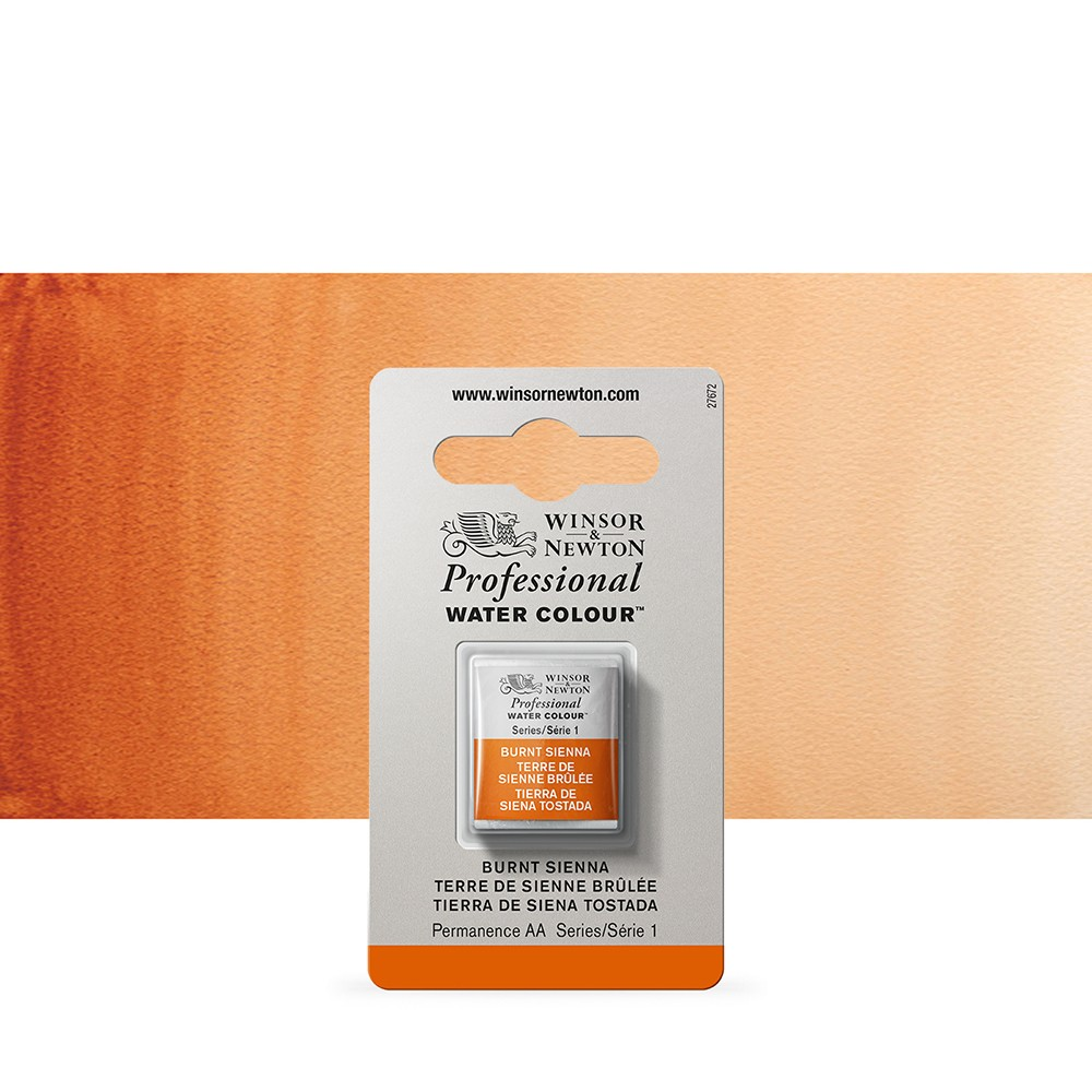 Winsor & Newton : Professional Watercolour Paint : Half Pan : Burnt Sienna