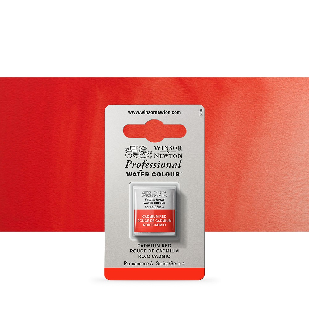 Winsor & Newton : Professional Watercolour Paint : Half Pan : Cadmium Red