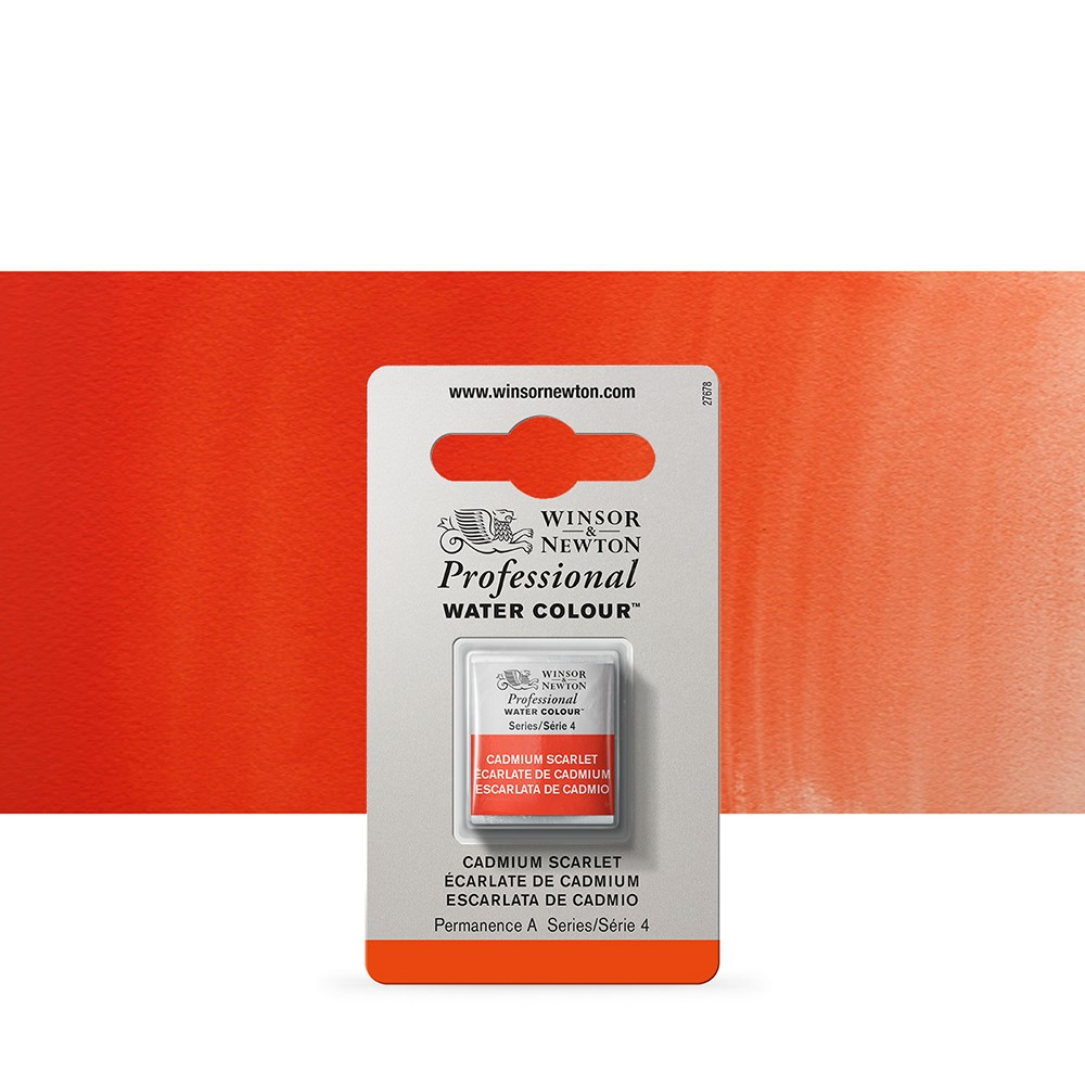 Winsor & Newton : Professional Watercolour Paint : Half Pan : Cadmium Scarlet