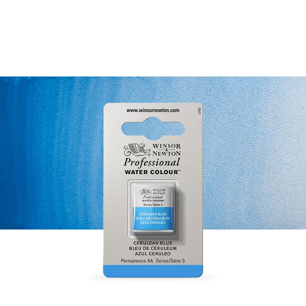 Winsor & Newton : Professional Watercolour Paint : Half Pan : Cerulean Blue