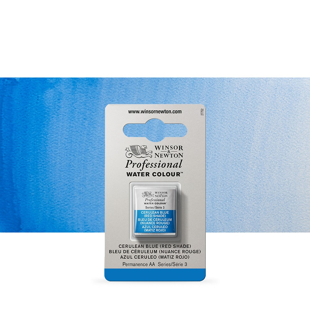 Winsor & Newton : Professional Watercolour Paint : Half Pan : Cerulean Blue (Red Shade)