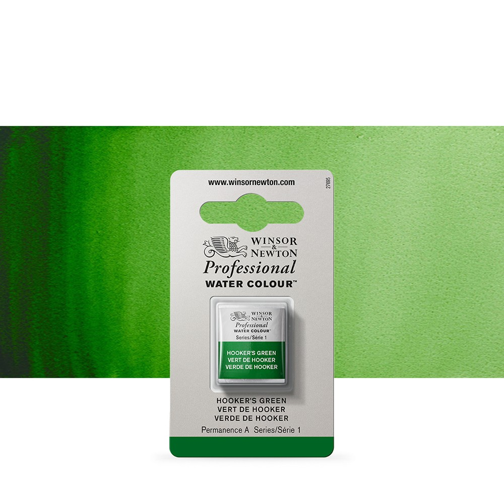 Winsor & Newton : Professional Watercolour Paint : Half Pan : Hookers Green