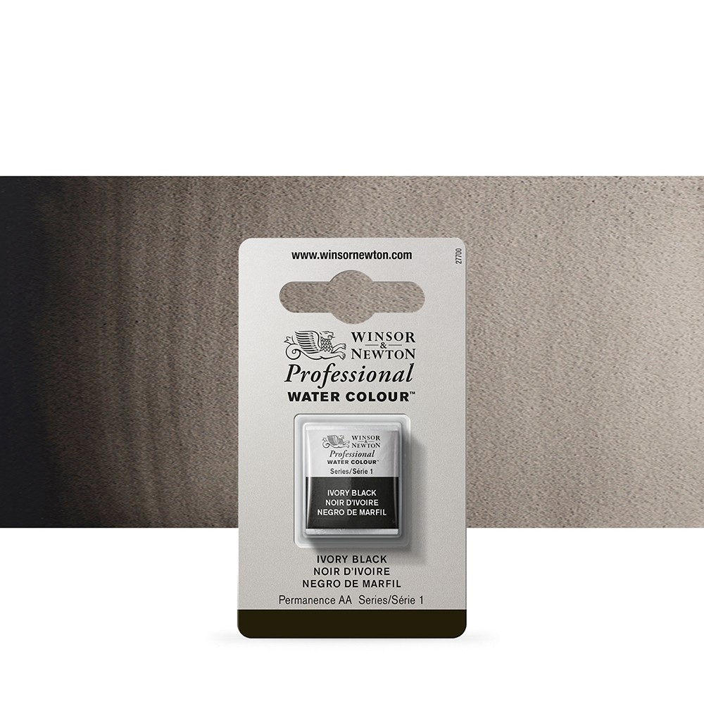 Winsor & Newton : Professional Watercolour Paint : Half Pan : Ivory Black