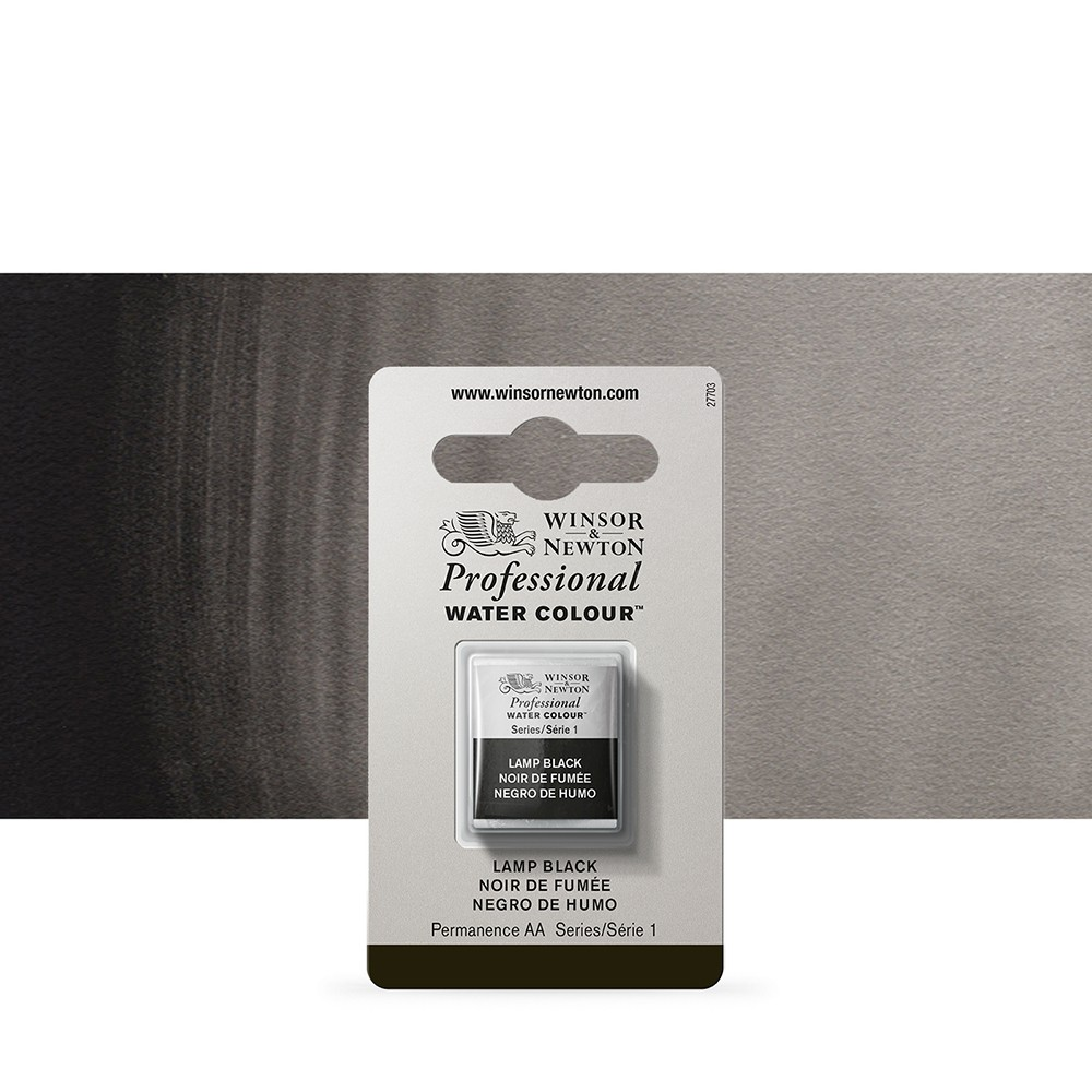 Winsor & Newton : Professional Watercolour Paint : Half Pan : Lamp Black