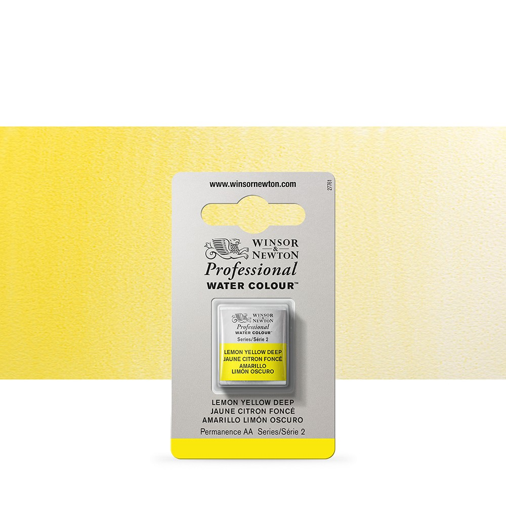 Winsor & Newton : Professional Watercolour Paint : Half Pan : Lemon Yellow Deep