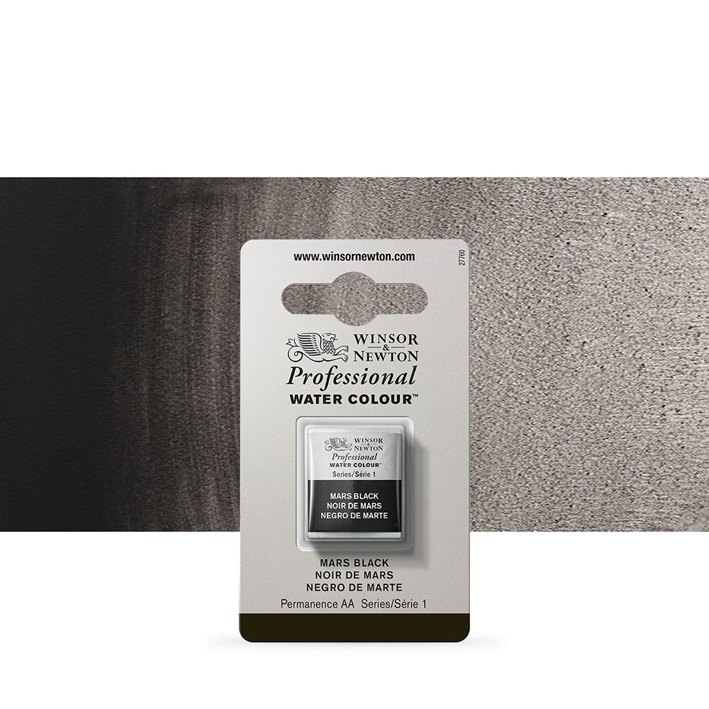 Winsor & Newton : Professional Watercolour Paint : Half Pan : Mars Black