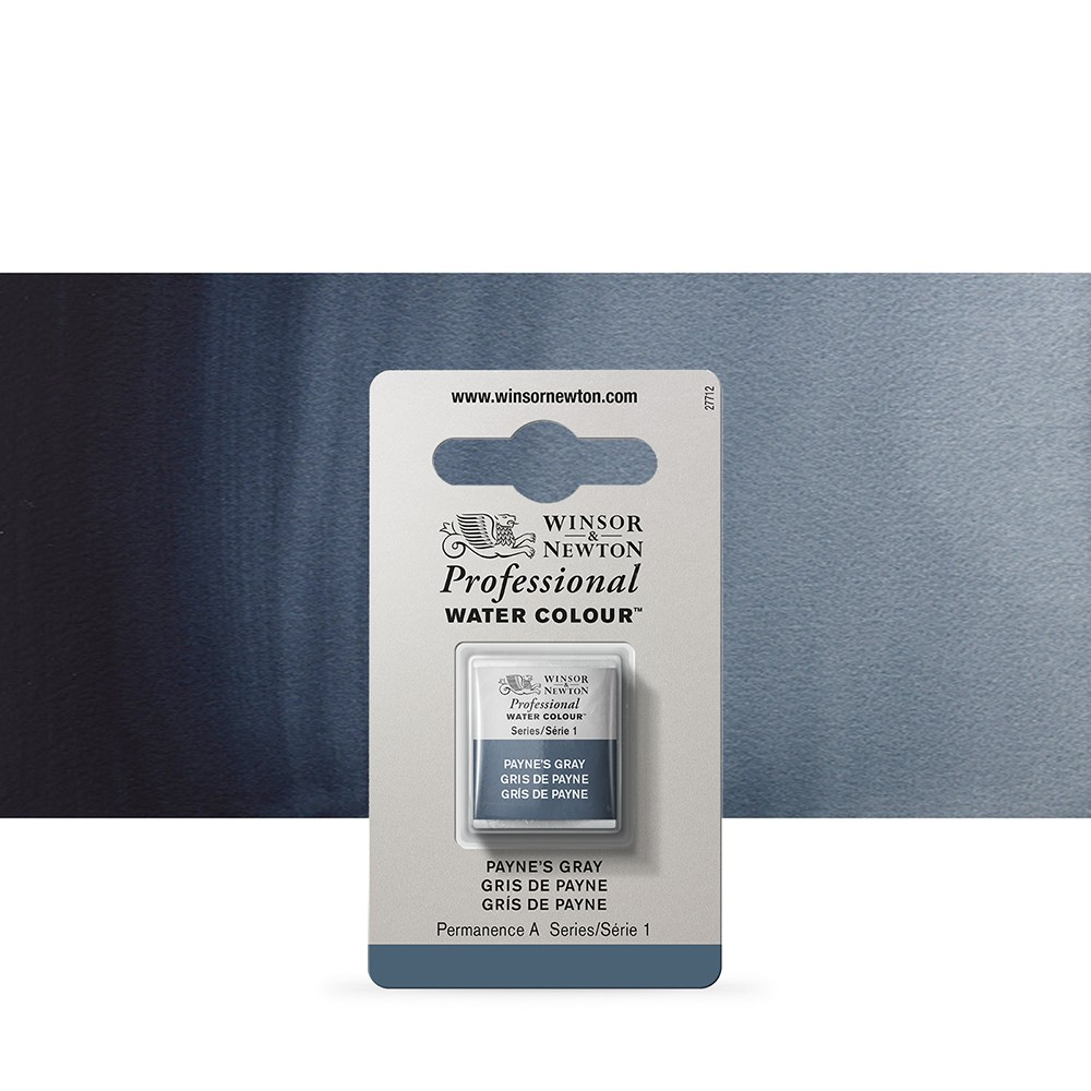 Winsor & Newton : Professional Watercolour Paint : Half Pan : Paynes Grey