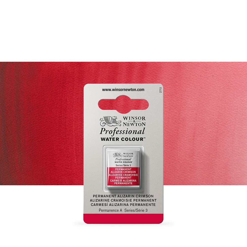 Winsor & Newton : Professional Watercolour Paint : Half Pan : Permanent Alizarin Crimson