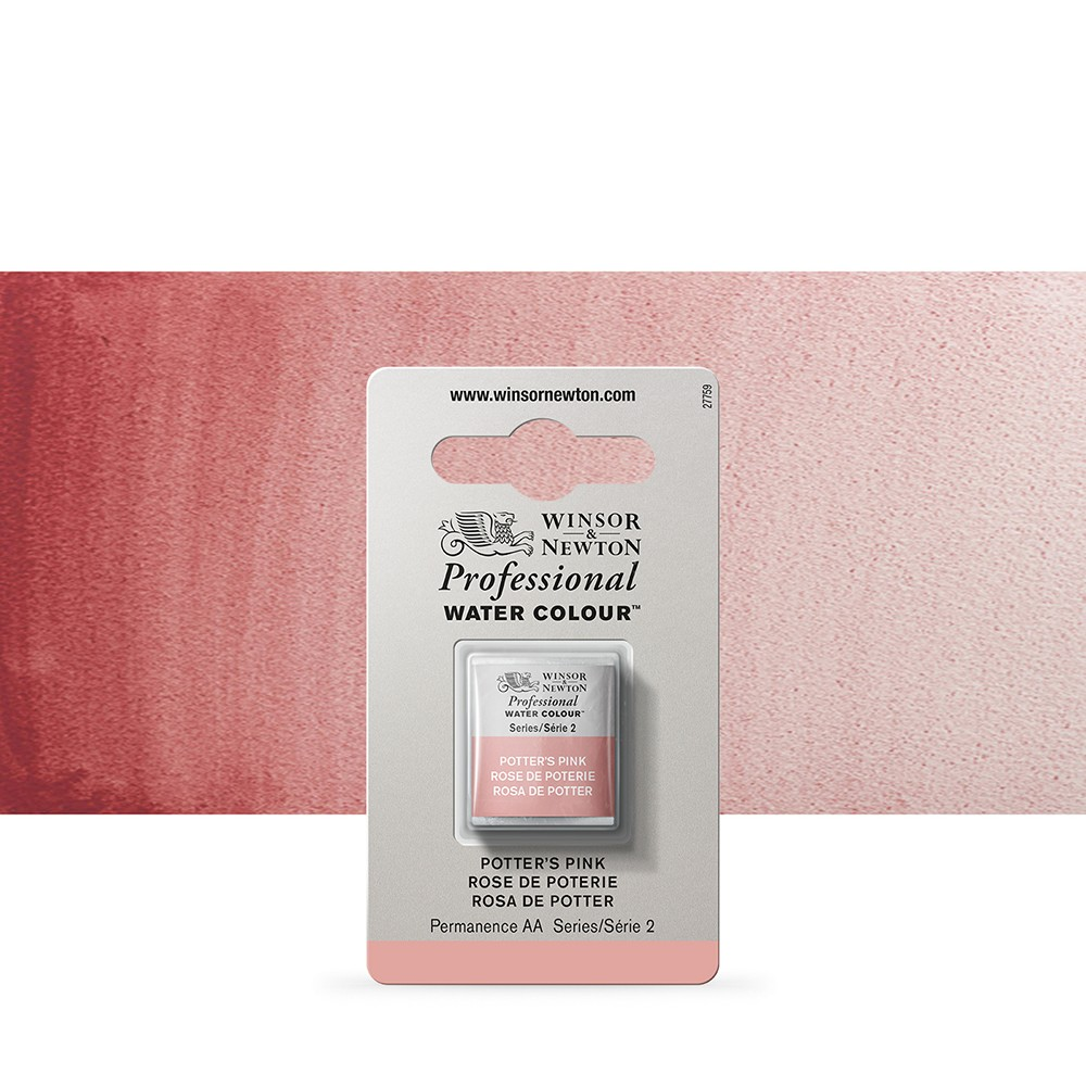 Winsor & Newton : Professional Watercolour Paint : Half Pan : Potters Pink