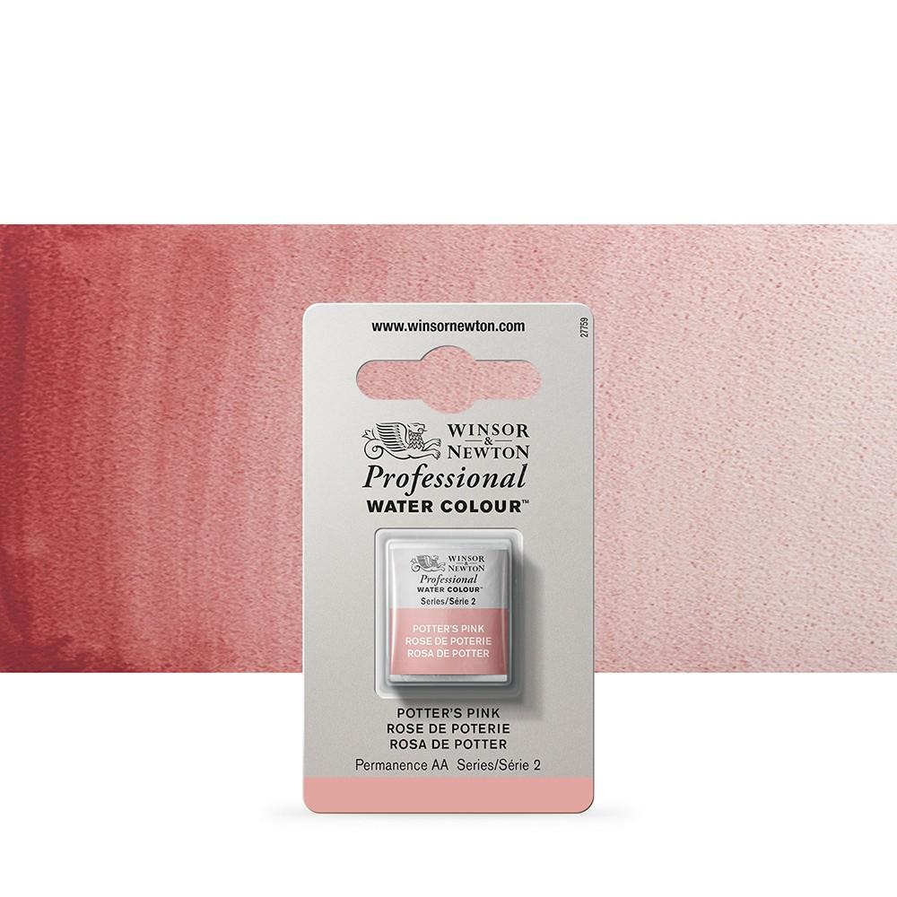 Winsor & Newton : Professional Watercolour Paint : Half Pan : Potters Pink