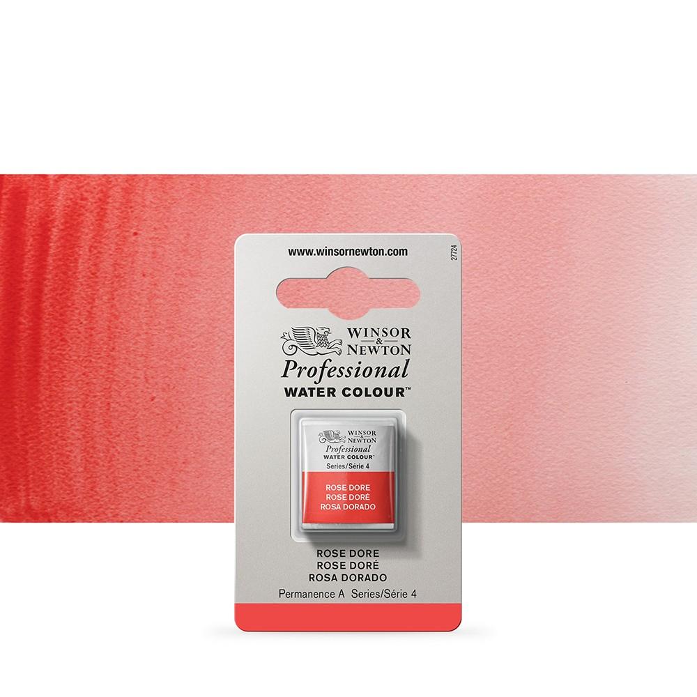 Winsor & Newton : Professional Watercolour Paint : Half Pan : Rose Dore