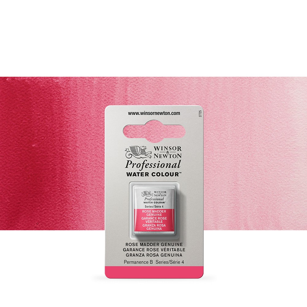 Winsor & Newton : Professional Watercolour Paint : Half Pan : Rose Madder Genuine