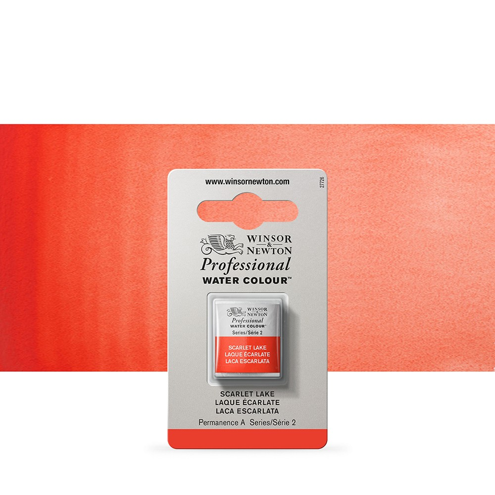 Winsor & Newton : Professional Watercolour Paint : Half Pan : Scarlet Lake
