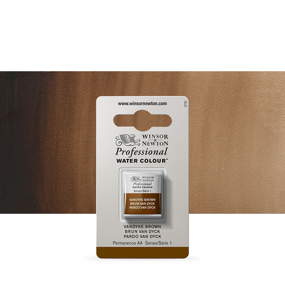 Winsor & Newton : Professional Watercolour Paint : Half Pan : Van Dyke Brown