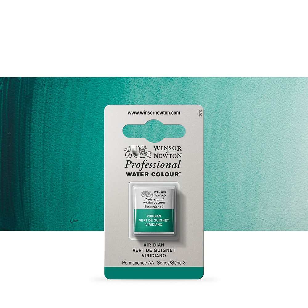 Winsor & Newton : Professional Watercolour Paint : Half Pan : Viridian