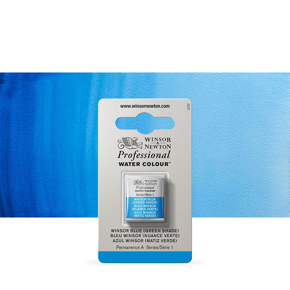 Winsor & Newton : Professional Watercolour Paint : Half Pan : Winsor Blue (Green Shade)