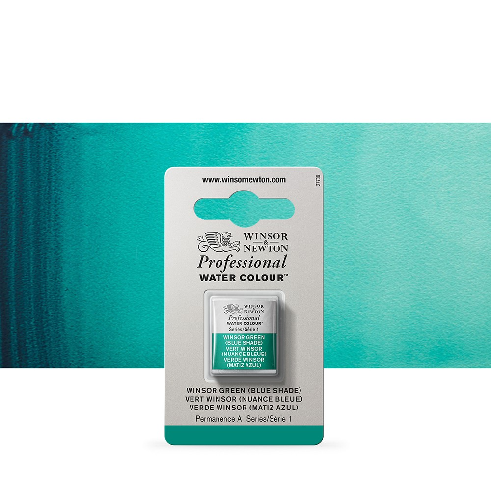 Winsor & Newton : Professional Watercolour Paint : Half Pan : Winsor Green (Blue Shade)