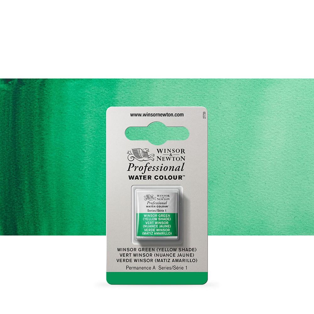Winsor & Newton : Professional Watercolour Paint : Half Pan : Winsor Green (Yellow Shade