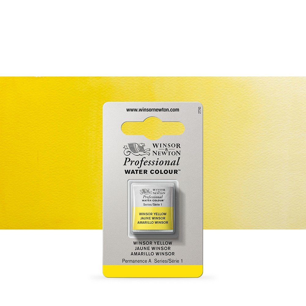 Winsor & Newton : Professional Watercolour Paint : Half Pan : Winsor Yellow