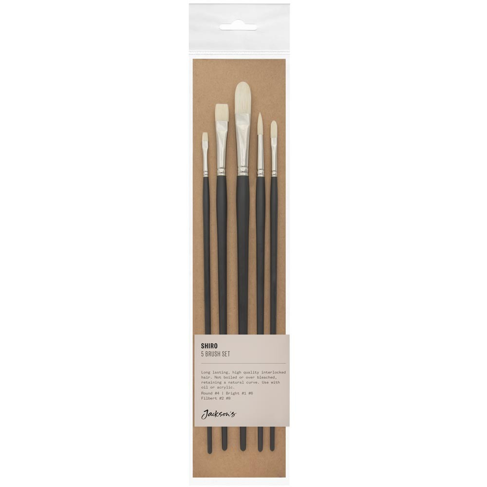 Jackson's : Shiro Professional Hog Bristle Hair Brush : Set of 5 : 4 Round, 1 & 6 Bright, 4 Filbert