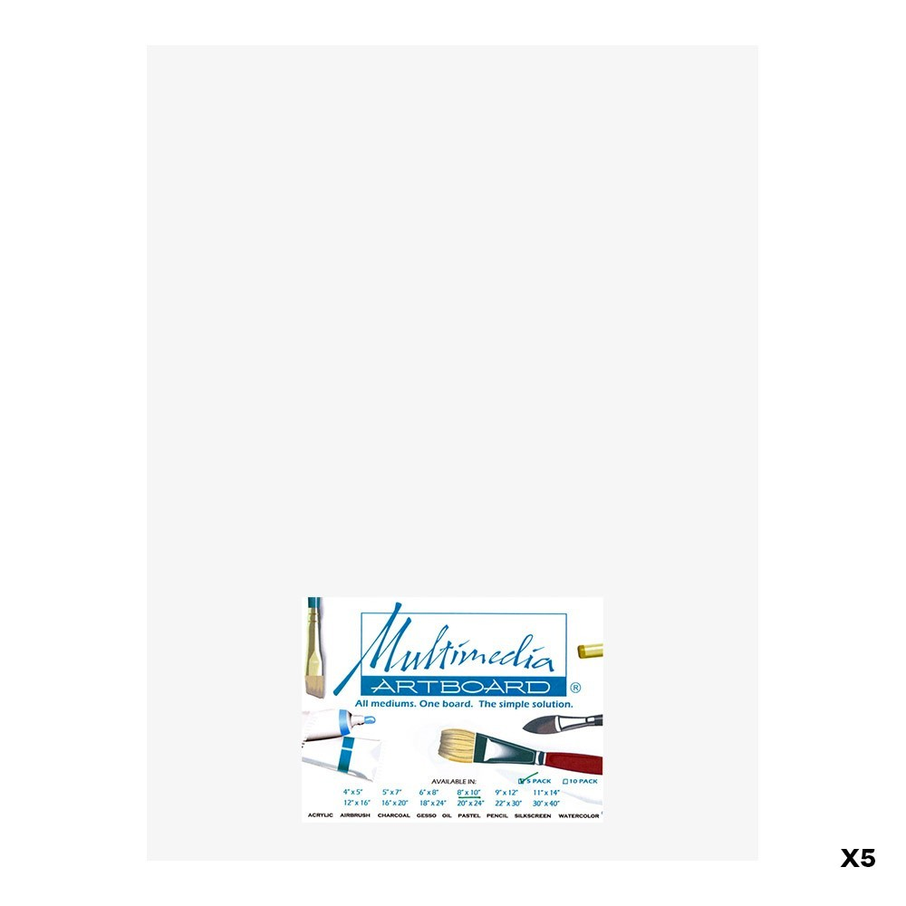Multimedia Artboard : Artist Panel : 0.8 mm : 5 Pack : 12x16in : White