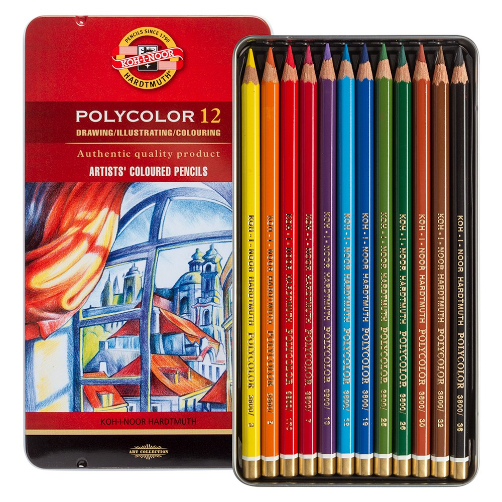 Koh-I-Noor : Polycolor : Artist Coloured Pencils 3822 : Set of 12