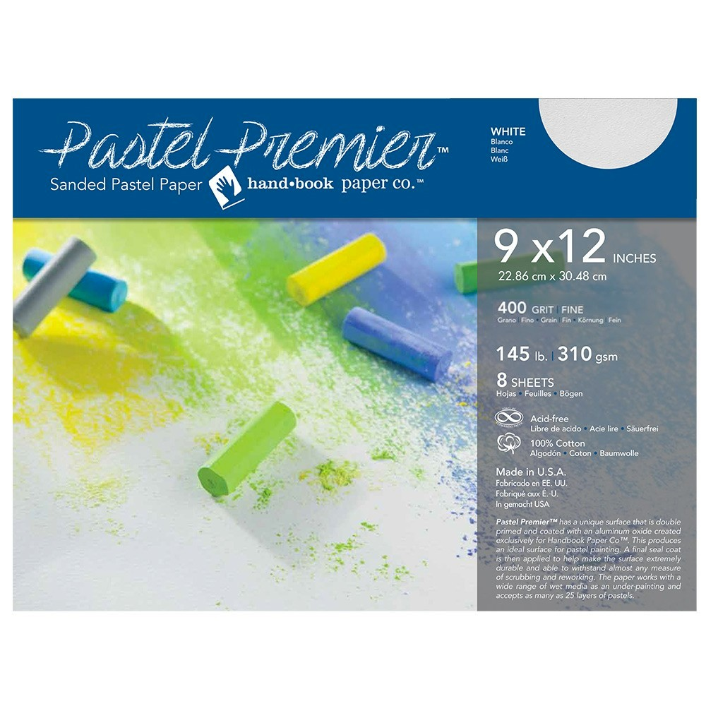 Global : Pastel Premier : Sanded Pastel Paper : Fine Grit : 9x12in : Pack of 8 : White