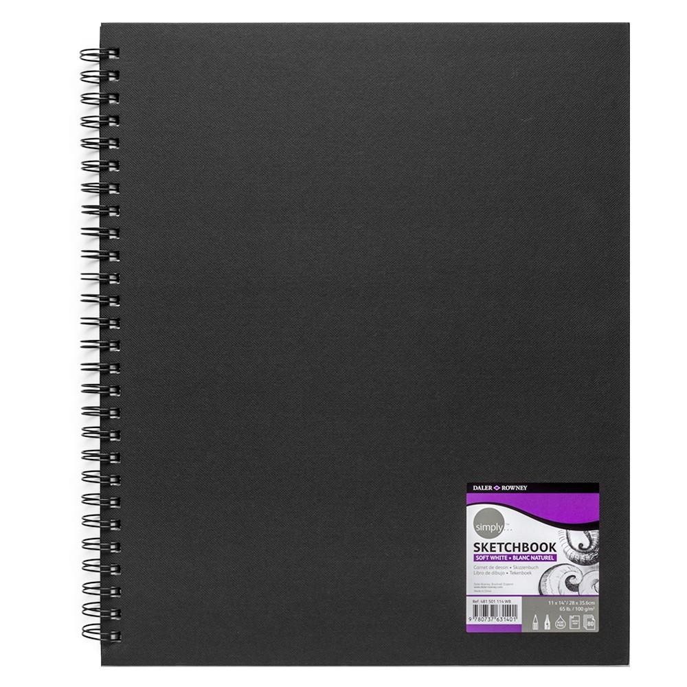 Daler Rowney : Spiral Bound Sketchbook : Black : 11x14in : 100gsm : 80 Sheets