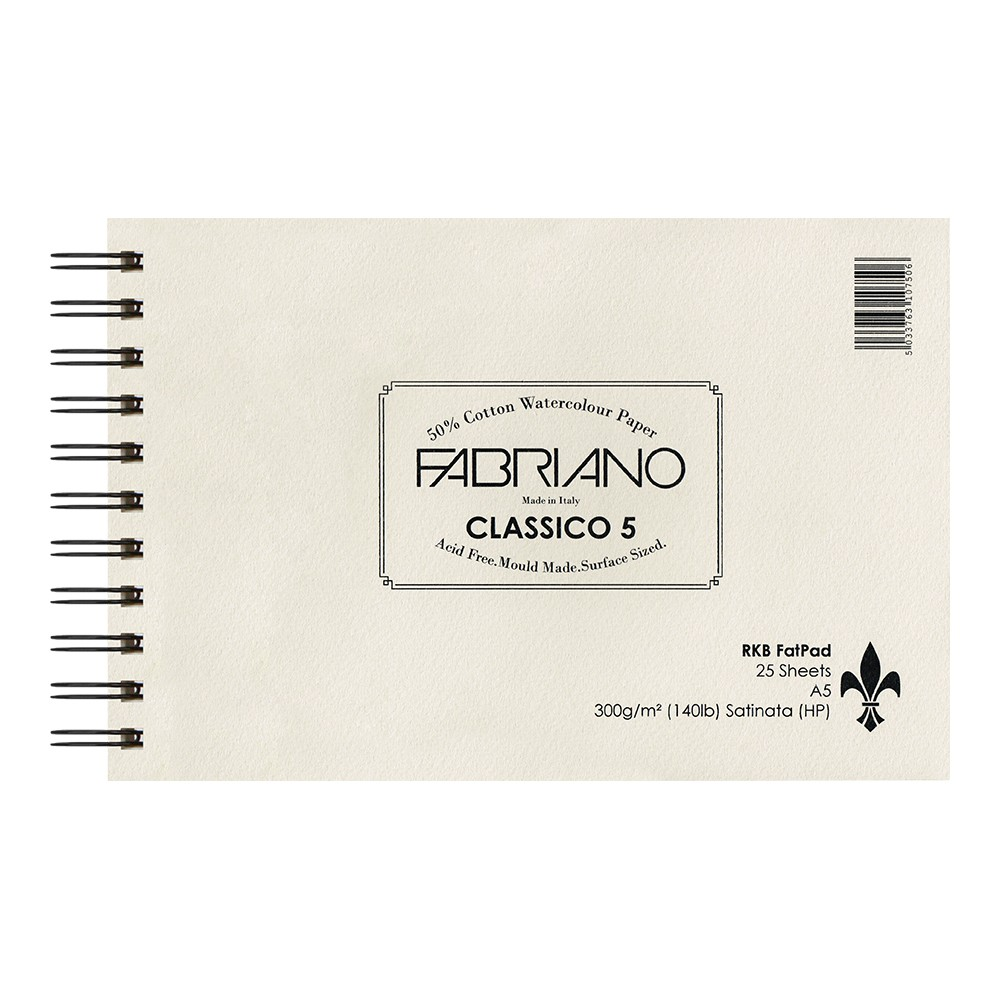 Fabriano : 5 : New 2016 Surface and New Sizing : Fat Pad : 25 Sheets : Wire Bound on Short Edge : A5