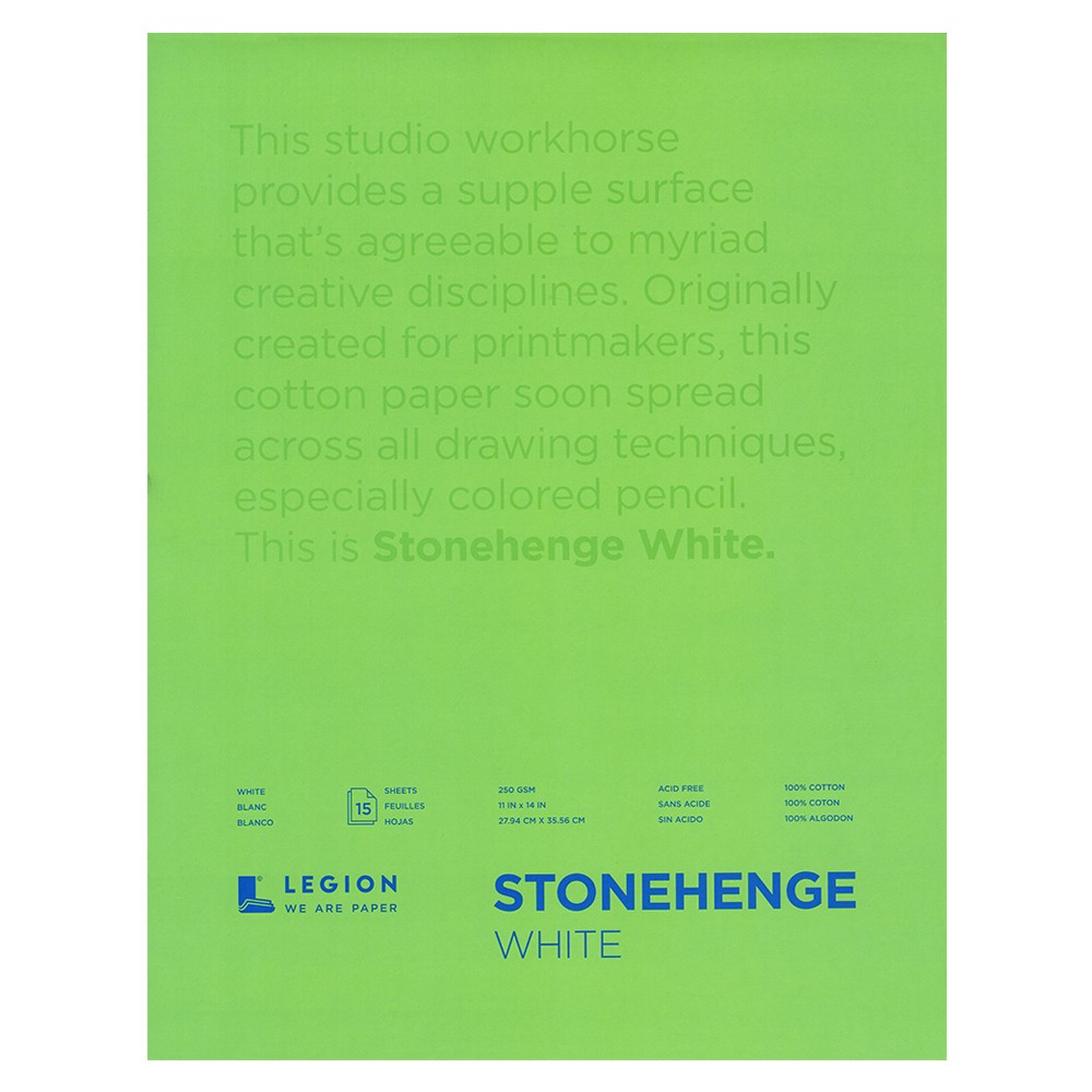 Stonehenge : Fine Art Paper Pad : 11x14in : 15 Sheets : White : Smooth / Vellum
