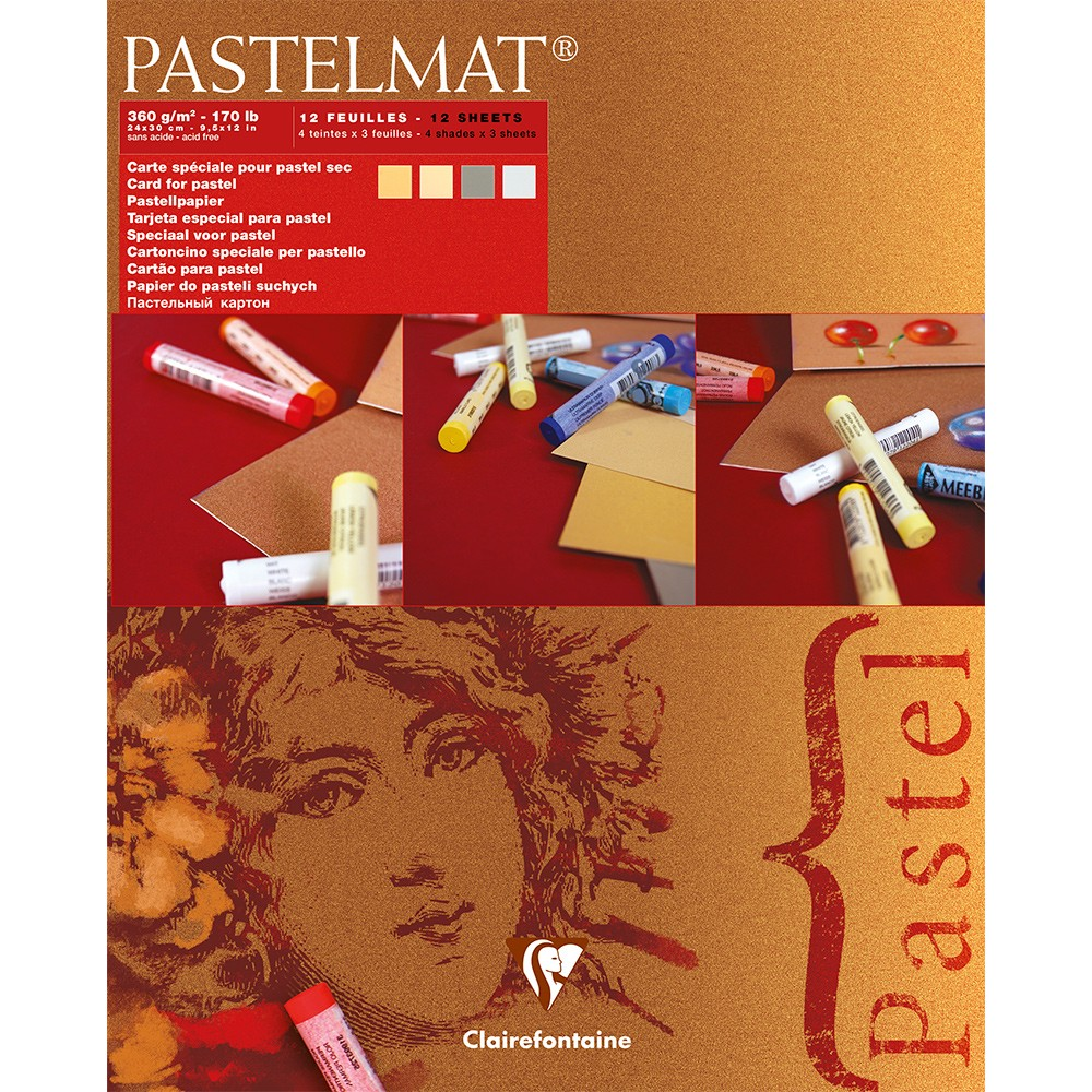 Clairefontaine : Red Label : Pastelmat Pad : 24x30cm : 12 Sheets 360gsm