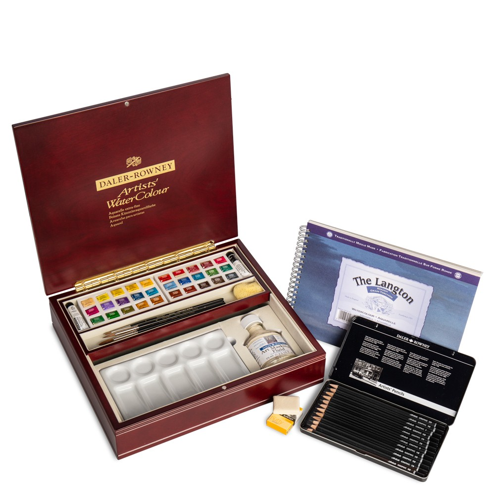 Daler Rowney : Artists' Watercolour Paint : Luxury Set : Half Pan : Set Of 30