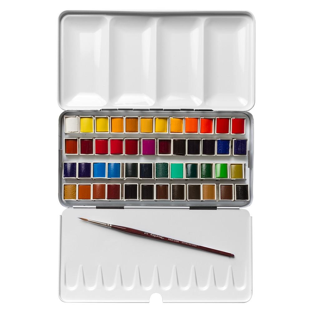 Sennelier : Watercolour Paint : Classic Metal Tin Set Of 48 Half Pans