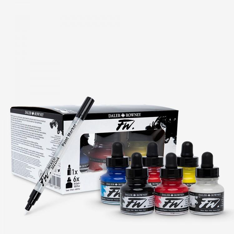 Daler FW Liquid Acrylic Ink:29.5mlxSET OF 6 Primary Colours