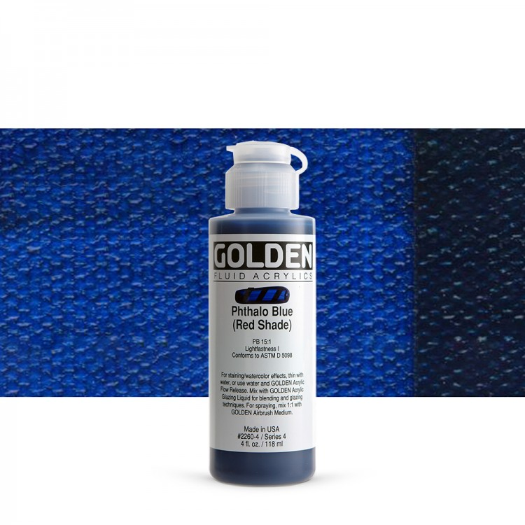 Golden : Fluid : Acrylic Paint : 119ml (4oz) : Phthalo Blue Red Shade