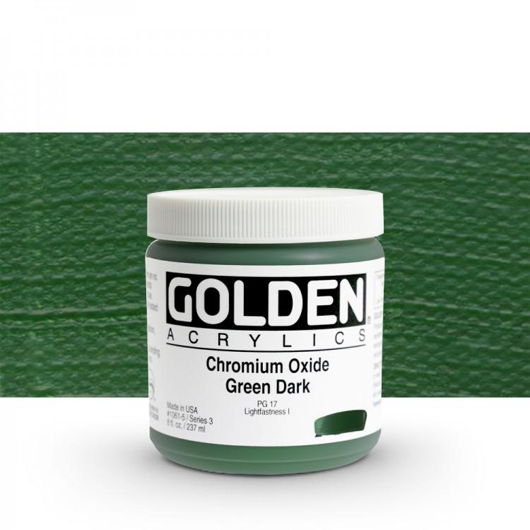 Golden : Heavy Body Acrylic Paint : 236ml Chrome Oxide Green Dark Iii New